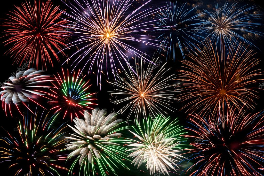 Display of colorful firework explosions — Stock Photo #4527610
