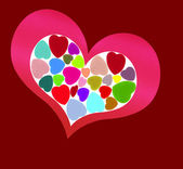 Pink heart on red — Stock Photo