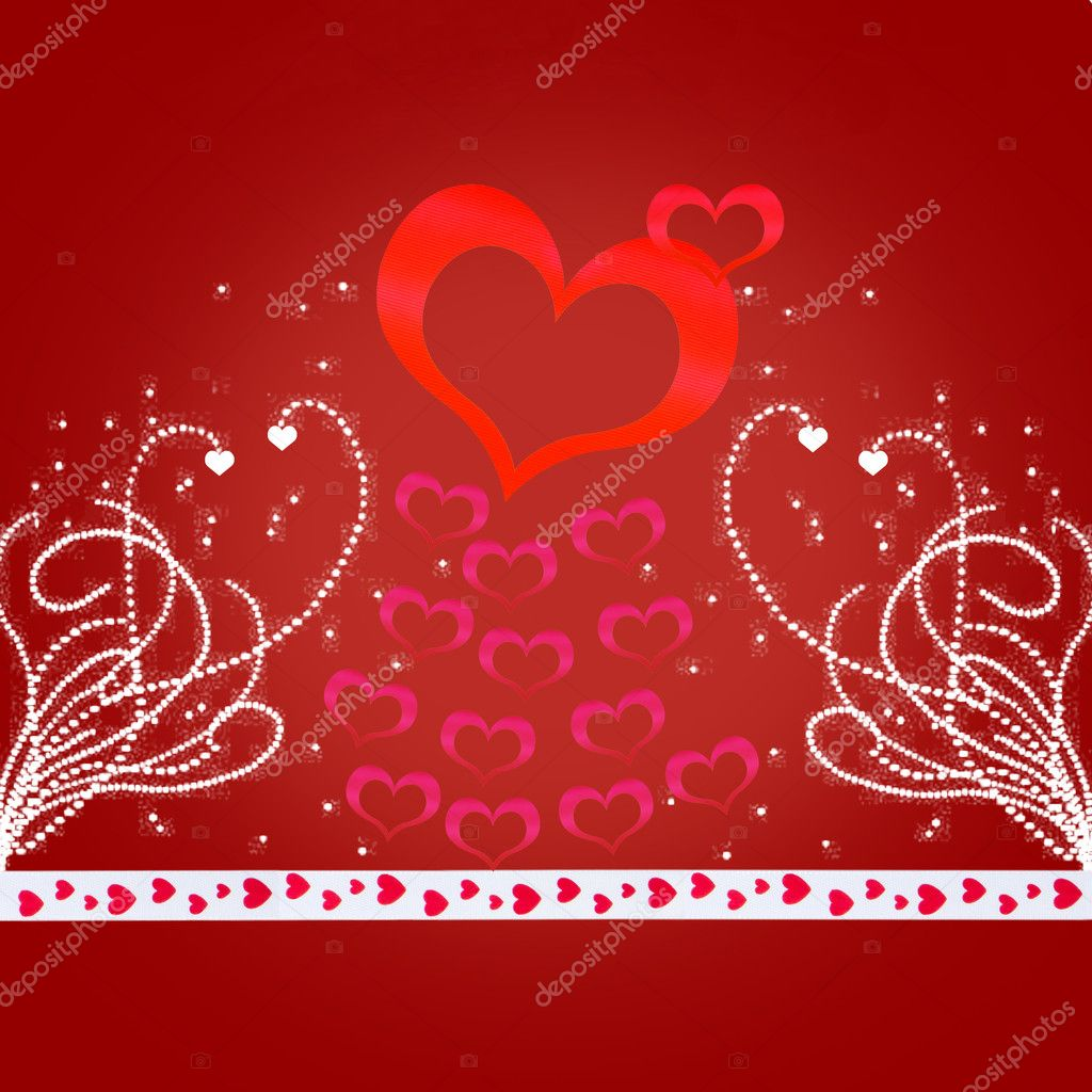 Red valentine card with a lot of hearts — Stock Photo #4691830