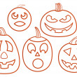 Stock Vector: Set of pumpkins