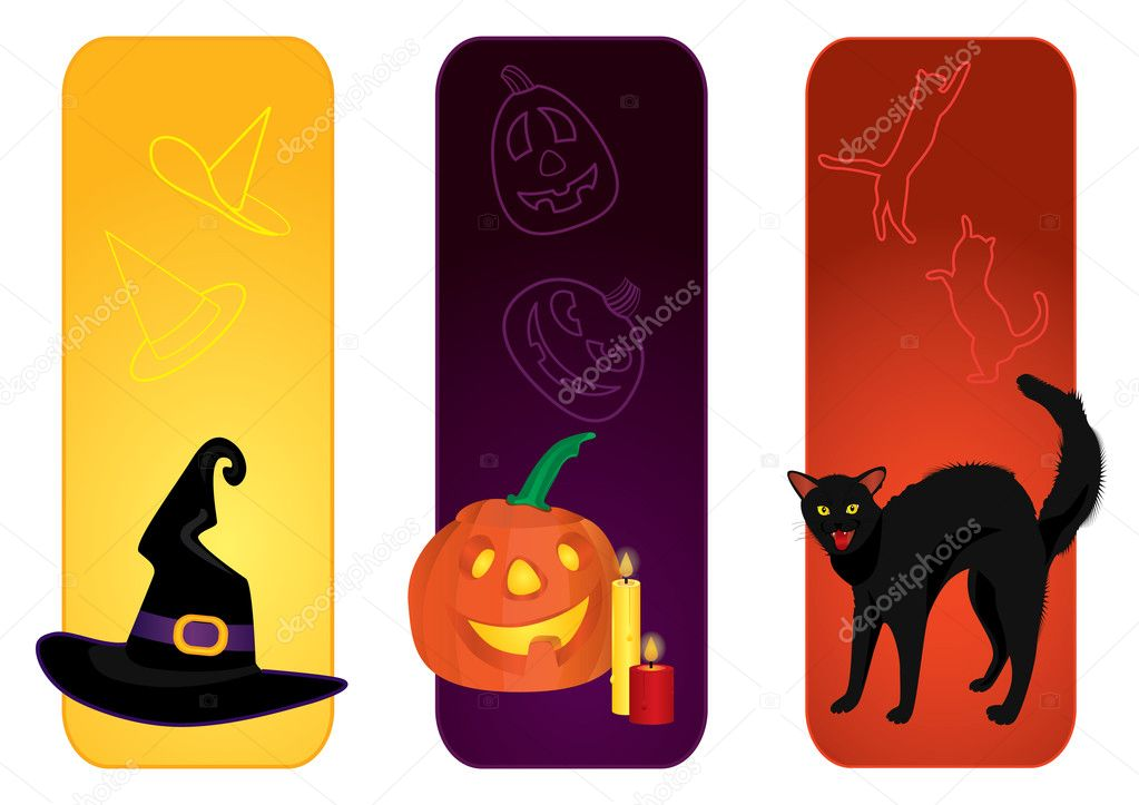 Different banners with witch's hat, pumpkin and candles and hissing cat — Stock Vector #4143515