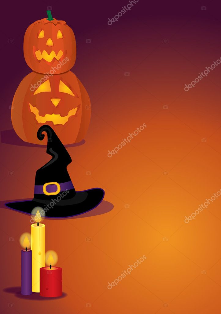 Vertical shot for Halloween with witch's hat, candles and pumpkins  Stock Vector #4143555