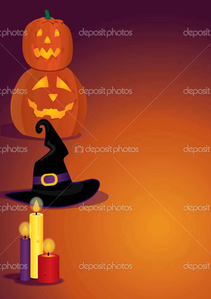Vertical shot for Halloween with witch's hat, candles and pumpkins  Stock vektor #4143555