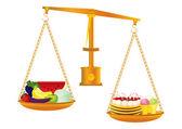 Healthy and unhealthy food — Stock Vector
