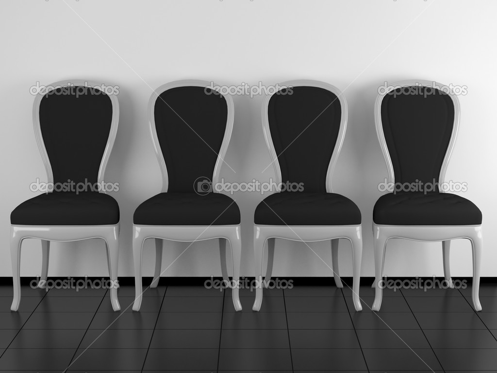 Classic black and white armchairs in a row, indoor, 3d render/illustration — Stock Photo #4014861