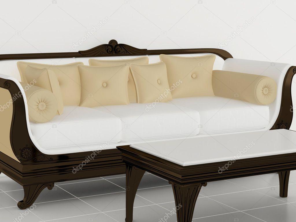 Vardagsrum, klassiska vita soffa med litet bord — Stockfotografi ...