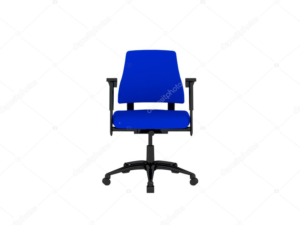 Office blue armchair isolated on white, 3D render/illustration — Stock Photo #4015080