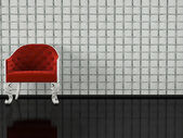 Klasická červená pohovka vnitřní — Stock fotografie