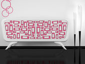 Modern white and pink sideboard indoor — Stock Photo