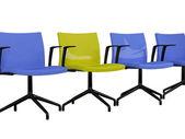 Sillones de oficina azul y amarillo aislados — Foto de Stock
