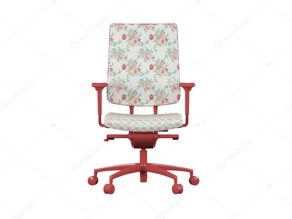Office floral armchair isolated on white, funny vintage armchair, 3d render/illustration — Stock Photo #4057368