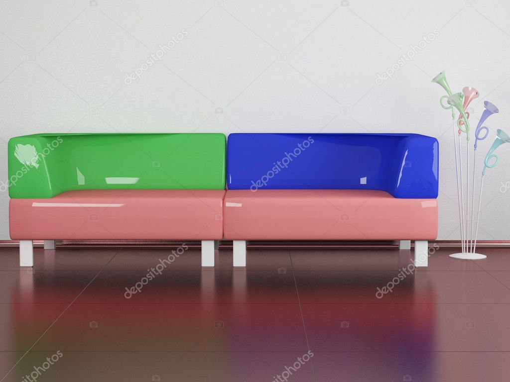 Multicolored sofa, floor lamp in the room, 3d illustrations — Stock Photo #4058338