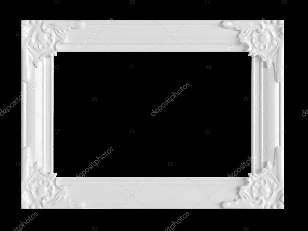 Empty white wall picture frame isolated on black stock - White wall picture frames ...