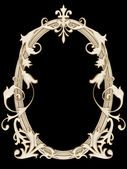 Gold ornamented picture round frame isolated — Stock Photo