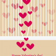Beautiful valentine greeting card wiht hearts - Stock Photo