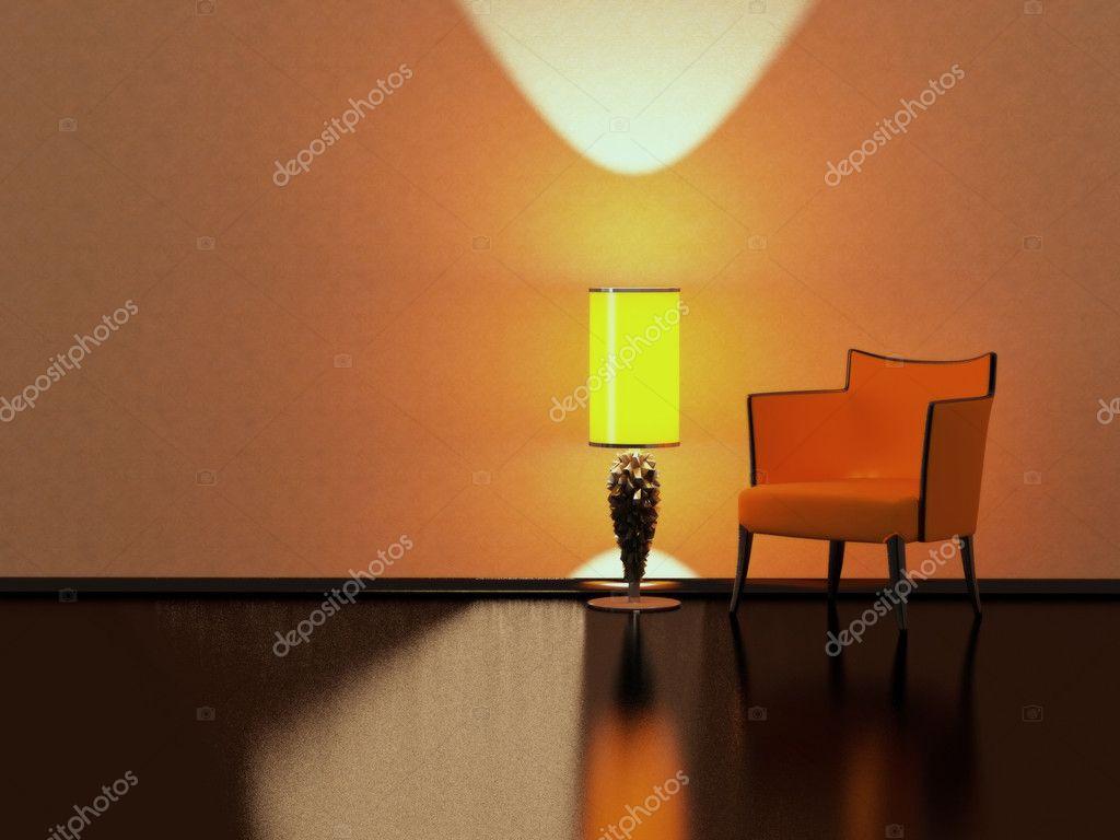 Lampe de sol design intérieur moderne rouge canapé jaune intérieure image