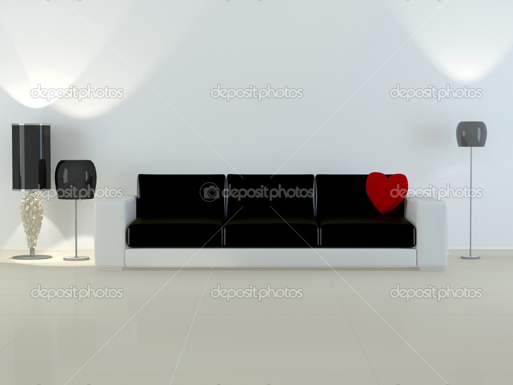 Design interior of elegance modern living room, black and white sofa with red pillow in shape of heart, flour lamps, 3d rendering — Stock Photo #4704802
