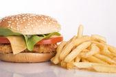 Chicken burger and potato — Stock Photo
