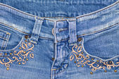 Jeans with embroidery — Stock Photo