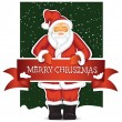 Santa Claus With Christmas Banner — Stock Vector