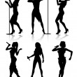 Female singers silhouette set — Stock Vector