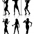 Female singers silhouette set — Stock Vector #4327547