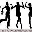 Stock Vector: Retro Dancing Girl Silhouettes