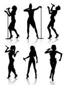 Female singers silhouette set — Stock Vector