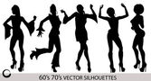 Retro Dancing Girl Silhouettes — Stock Vector