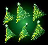 Рождественская елка рисунок набор — Cтоковый вектор