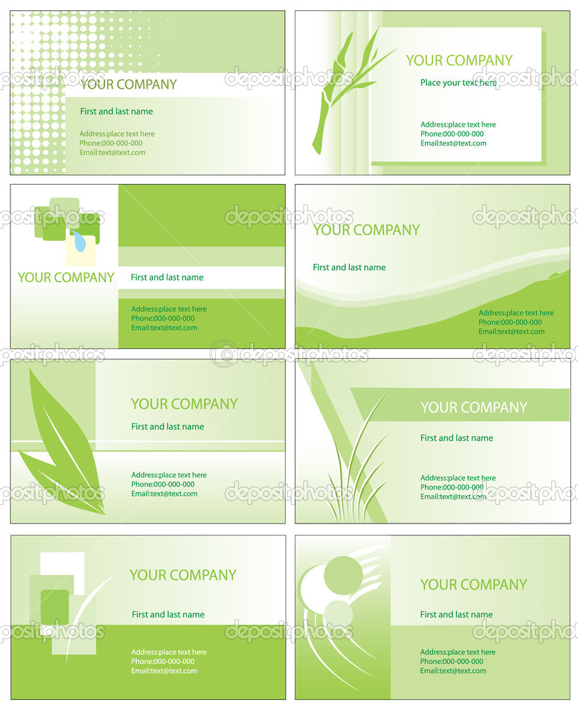 Green business card vector illustration templates isolated on white background  — Vettoriali Stock  #4327551