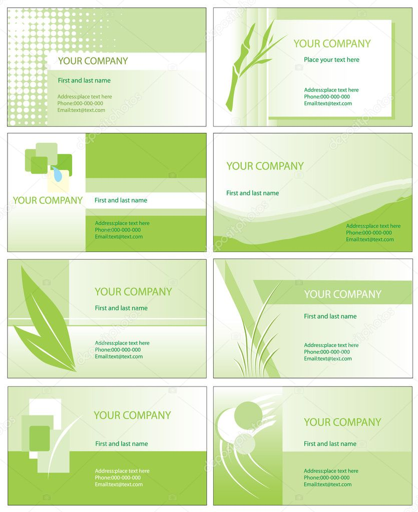 Green business card vector illustration templates isolated on white background   Stock vektor #4327551