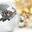 Disco ball with christmas decoration — Stock Photo