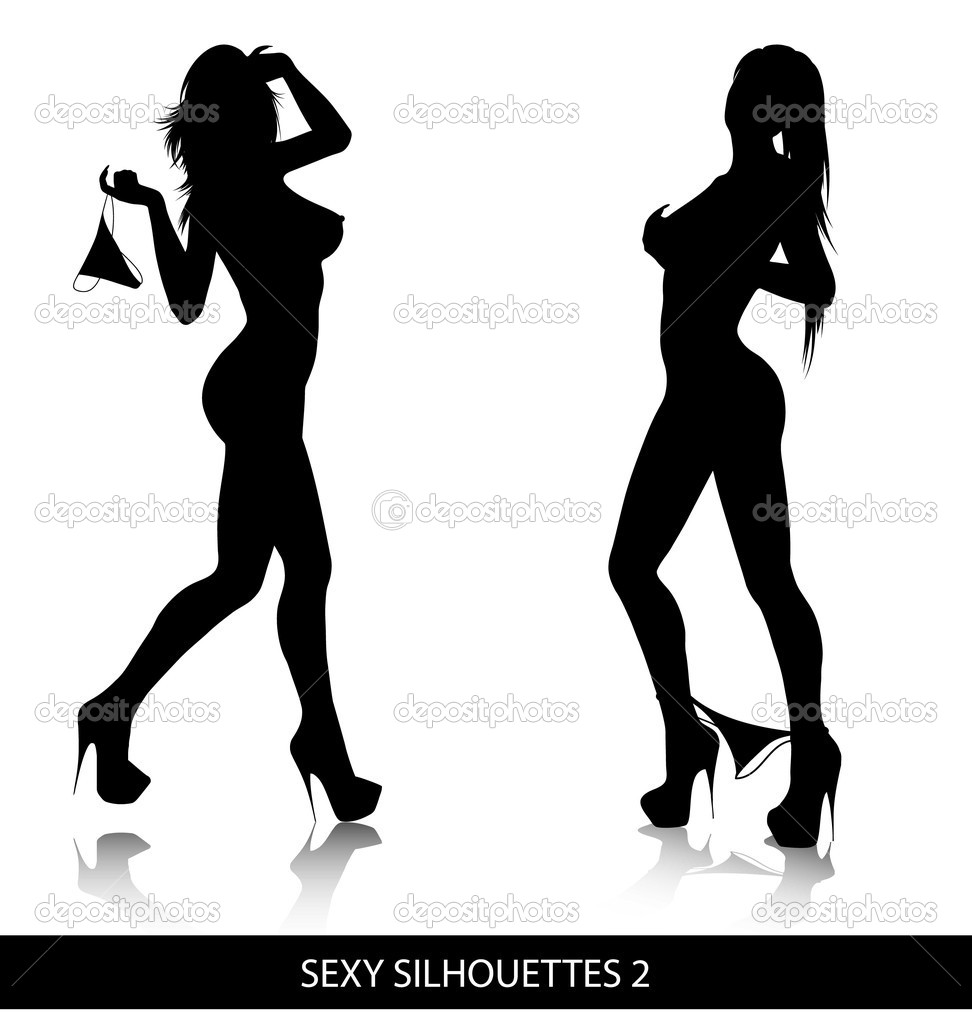 Sexy female silhouettes isolated on white background. — Stock Vector #4550720