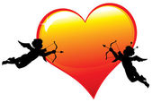 Two cupid silhouettes with a big glossy heart illustration. — Stock Vector