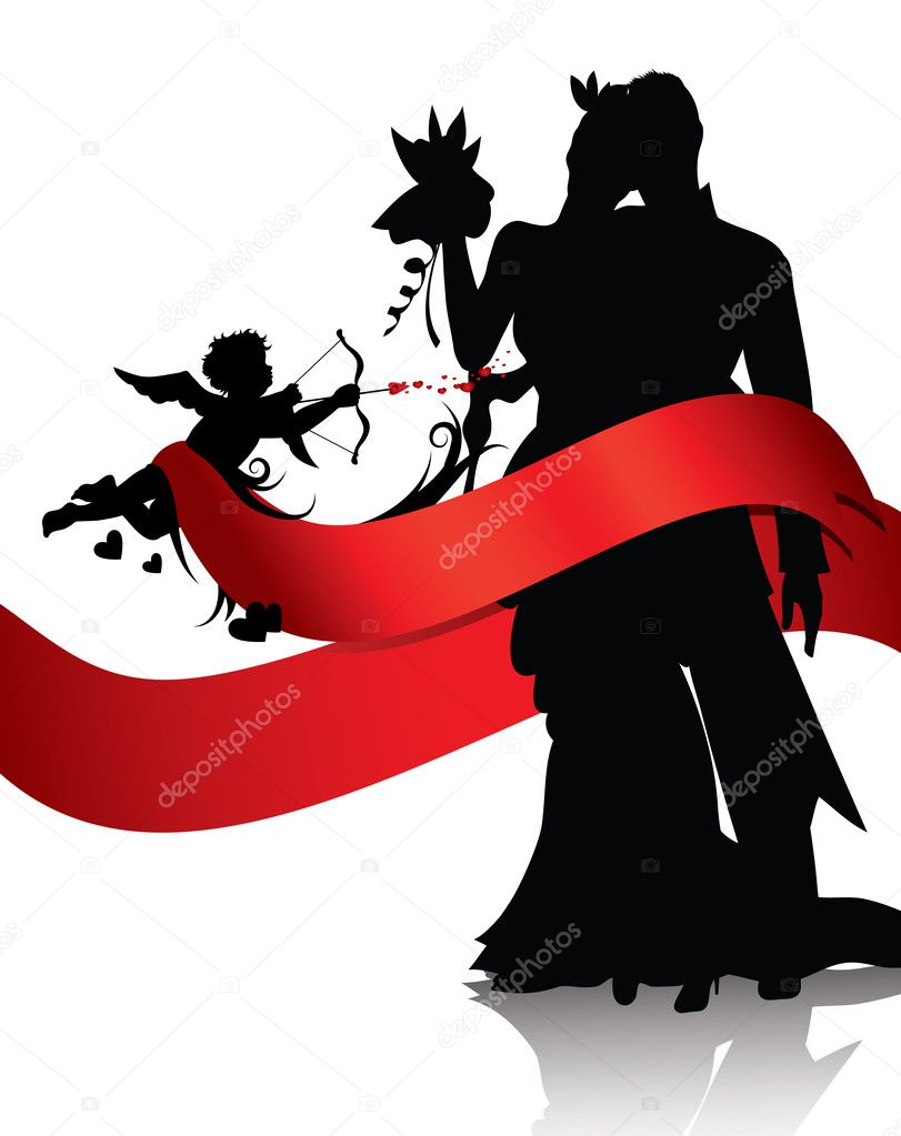 Silhouettes of couple and cupid with red banner isolated on white background.You can find similar images in portfolio — Stock Vector #4618930