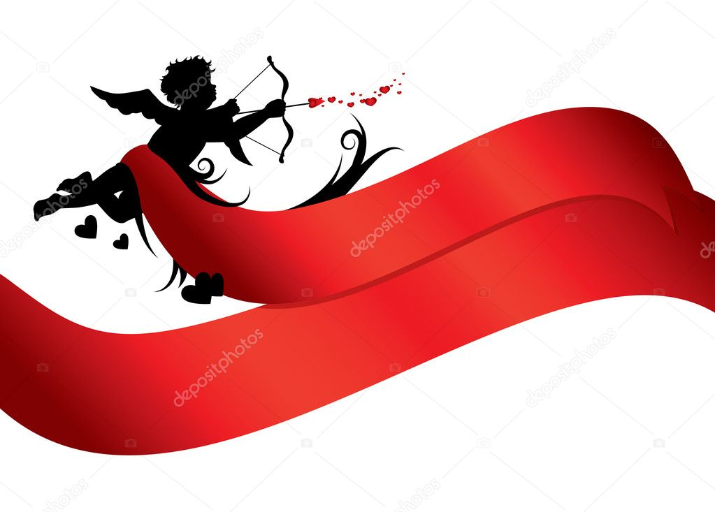 Cupid silhouette with red ribbons isolated on white background — Stockvectorbeeld #4618974