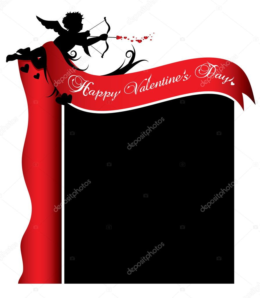Cupid silhouette with red ribbon and background illustration — Stock Vector #4618985