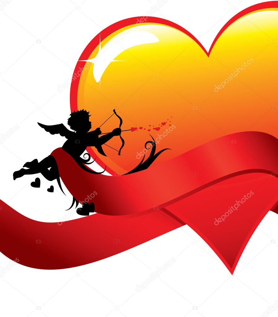 Cupid silhouette with ribbons anda big glossy heart illustration.  — Stock Vector #4618994
