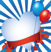 Fundo com coração e balões — Fotografia Stock