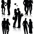 Royalty-Free Stock Vektorfiler: Romantic couples silhouettes