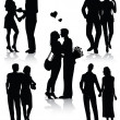 Royalty-Free Stock Imagem Vetorial: Romantic couples silhouettes