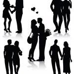 sagome di coppie romantiche — Vettoriale Stock