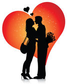 Couple silhouette with hearts — Vettoriale Stock