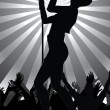 Pop singer performing on stage with crowd cheering — Stock Vector