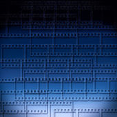 Blue abstract background with filmstrips — Stock Photo