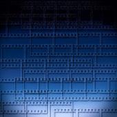 Fondo abstracto azul con tiras de película — Foto de Stock