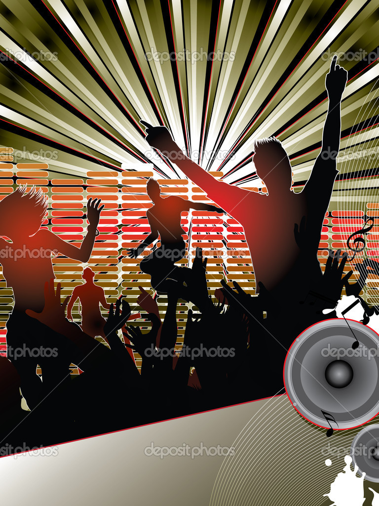 Silhouettes of young dancing with the dj at the party — Stock Vector #5348820