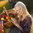 Beautiful blonde smiling woman with many apple in basket at farm — Stock fotografie