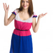 Young beautiful happy woman in colored dress isolated — Stock Photo